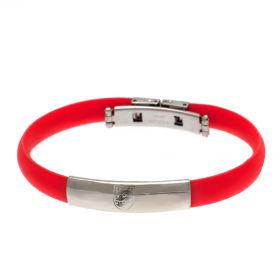 England Crest Rubber Band Bracelet - Stainless Steel