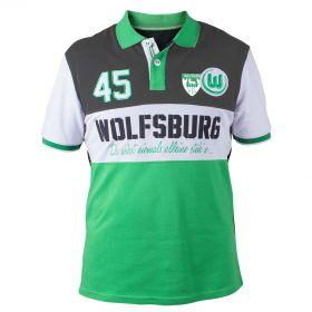 VfL Wolfsburg Striker Polo Shirt - Green/Grey - Mens
