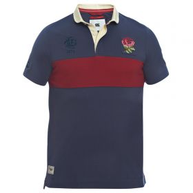 England Rugby Since 1871 Chest Block Polo - Graphite/Rhumba Red