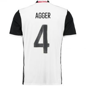 Denmark Away Shirt 2016 White with Agger 4 printing
