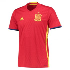 Spain Home Shirt 2016 Red with Alonso 14 printing
