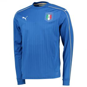 Italy Home Shirt 2016 - Long Sleeve Blue with Chiellini 3 printing