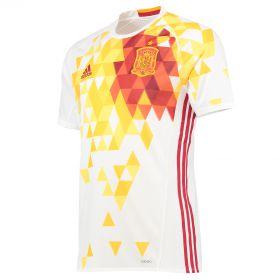 Spain Away Authentic Shirt 2016 White with David Silva 21 printing