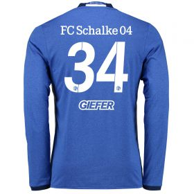 Schalke 04 Home Shirt 2016-17 - Long Sleeve with Giefer 34 printing