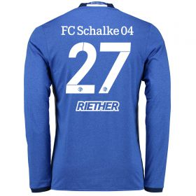 Schalke 04 Home Shirt 2016-17 - Long Sleeve with Riether 27 printing