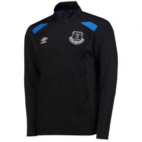 Everton Training Half Zip Top - Junior - Black/Electric Blue