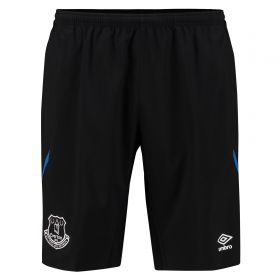 Everton Training Long Woven Short - Black/Electric Blue