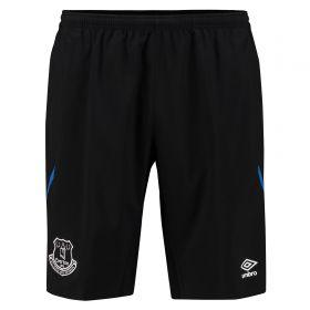 Everton Training Long Woven Short - Junior - Black/Electric Blue