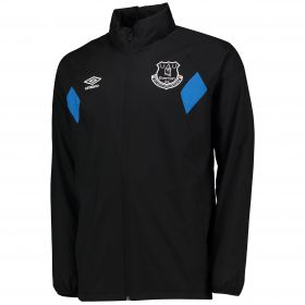 Everton Training Shower Jacket - Junior - Black/Electric Blue
