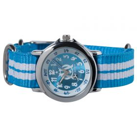 Olympique de Marseille Analogue Blue Dial Stripe Strap Watch - Young Junior - Blue-White