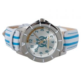 Olympique de Marseille Analogue White Dial Stripe Strap Watch - Young Junior - Blue-White