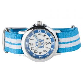 Olympique de Marseille Analogue White Dial Stripe Strap Watch - Young Junior - White-Blue