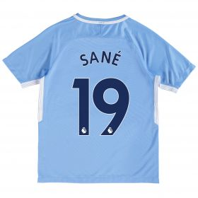 Manchester City Home Stadium Shirt 2017-18 - Kids with Sané 19 printing