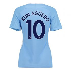 Manchester City Home Stadium Shirt 2017-18 - Womens with Kun Agüero 10 printing
