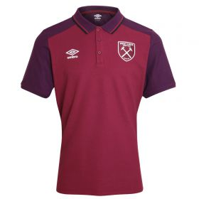 West Ham United Training Poly Polo Shirt - New Claret/Winter Bloom