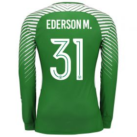 Manchester City Goalkeeper Cup Shirt 2017-18 with Ederson M. 31 printing