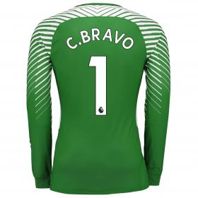 Manchester City Goalkeeper Shirt Shirt 17-18 - Kids with C.Bravo 1 printing