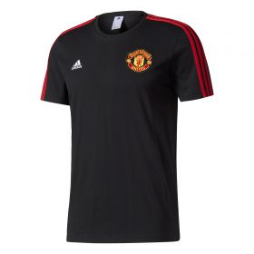 Manchester United 3 Stripe T-Shirt - Black