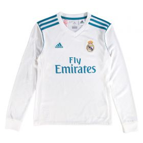 Real Madrid Home Shirt 2017-18 - Kids - Long Sleeve with Zidane 5 printing