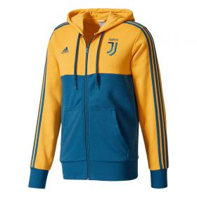 Juventus 3 Stripe Full Zip Hoody - Yellow
