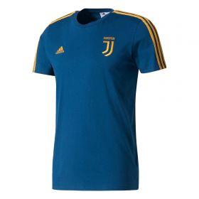 Juventus 3 Stripe T-Shirt - Dark Blue