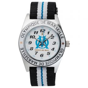 Olympique de Marseille Analogue White Dial Stripe Strap Watch - Young Junior - Black-White-Blue