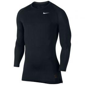 Nike Pro Combat Baselayer Top - Long Sleeve - Black/Dark Grey/White
