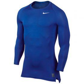 Nike Pro Combat Baselayer Top - Long Sleeve - Game Royal/Deep Royal Blue/White