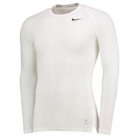 Nike Pro Combat Baselayer Top - Long Sleeve - White/Matte Silver/Black