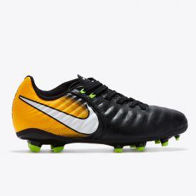 Nike Tiempo Ligera IV Firm Ground Football Boots - Black/White/Laser Orange/Volt - Kids