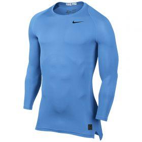 Nike Pro Combat Baselayer Top - Long Sleeve - University Blue/University Blue/Black