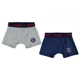 Paris Saint-Germain 2PK Boxer Shorts - Grey Marl/Navy - Boys