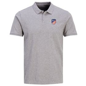 Atlético de Madrid Classic Crest Polo Shirt - Grey Marl - Mens