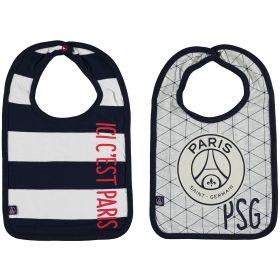 Paris Saint-Germain 2PK Bibs - Grey/White/Navy - Baby