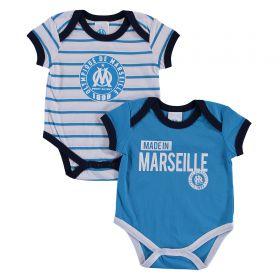 Olympique de Marseille 2 PK Bodysuits - White/Blue - Baby