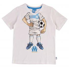 Olympique de Marseille Cartoon Silhouette T-Shirt - White - Boys