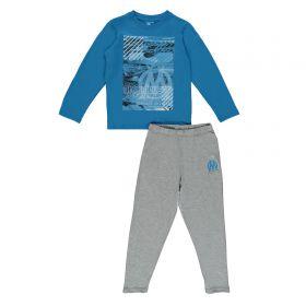 Olympique de Marseille Long Pyjamas - Blue/Grey - Boys