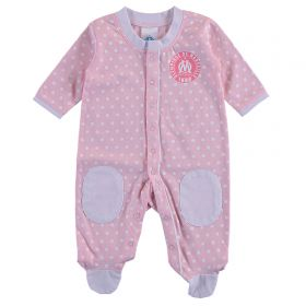 Olympique de Marseille Spotty Sleepsuit - Pink - Baby Girls