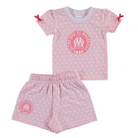 Olympique de Marseille Spotty T-shirt and Short Set - Pink - Baby Girls