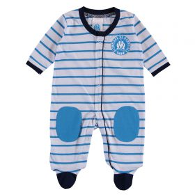 Olympique de Marseille Striped Sleepsuit - White/Blue - baby