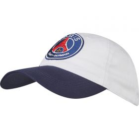 Paris Saint-Germain Block Colour Logo Cap - White - Adult