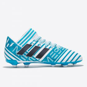 adidas Nemeziz Messi 17.3 Firm Ground Football Boots - White/Legend Ink/Energy Blue - Kids