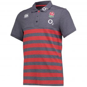 England Rugby Cotton Stripe Polo - Nine Iron Marl