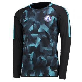Chelsea Squad Pre-Match Long Sleeve Training Top - Black