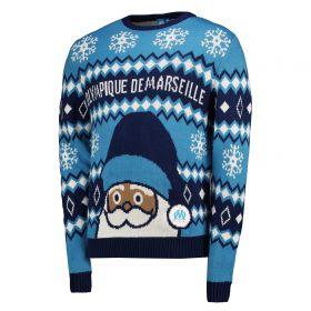 Olympique de Marseille Christmas Jumper - Blue - Adult