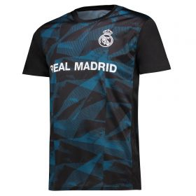 Real Madrid Polyester Sublimated T-Shirt - Black - Mens
