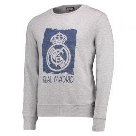 Real Madrid Tonal Graphic Crew Neck Sweater - Grey Marl - Mens