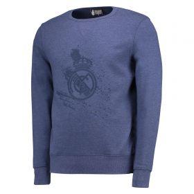 Real Madrid Tonal Graphic Crew Neck Sweater - Royal - Mens