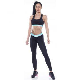 Дамски Комплект Клин/Бюстие ZERO FIT Training Set Black Turquoize