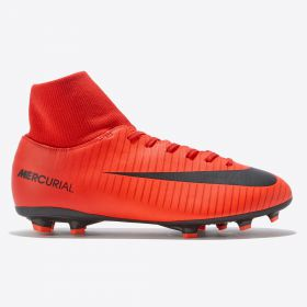 Nike Mercurial Victory VI Dynamic Fit Firm Ground Football Boots - Red - Kids